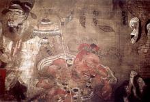 Monte Kōya. Museo (Reihōkan): morte del Buddha, particolare